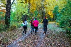 Laufende Athleten im Park auf einem Lauf am frühen Morgen Einige Kinder lassen im Wald das Handeln des Sports laufen Stockfoto