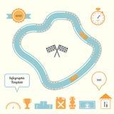 Laufende Bahn und Autos Infographic-Schablone Lizenzfreie Stockfotografie