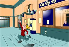 Laufende Bahnfahrkartestation blonder Dame Lizenzfreie Stockfotos