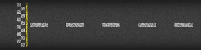 Laufende Draufsicht des Hintergrundes der Ziellinie Lokalisiert auf weißem Hintergrund Schmutz gemasert auf der Asphaltstraße Gra stock abbildung