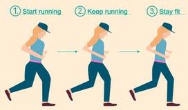 Laufende Eignungsfrau mit verlieren Gewicht Stockbilder