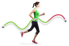 Laufende Frau über weißem Hintergrund Lizenzfreie Stockbilder