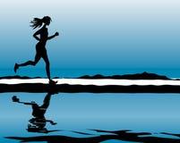 Laufende Frau des Sports u. der Eignung Lizenzfreie Stockfotografie