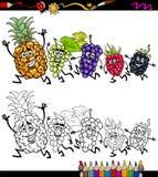 Laufende Fruchtkarikatur-Farbtonseite Stockfotos