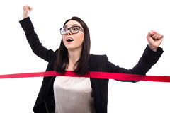 Laufende Geschäftsfrau-Überfahrtziellinie lokalisiert auf Weiß Stockbilder
