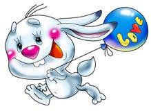 Laufende Hasen mit einem Ballon. Lizenzfreies Stockbild