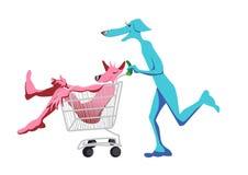 Laufende Hunde für den Einkauf Stockfoto