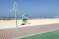 Laufende Linie auf dem Strand in Dubai Stockfotografie