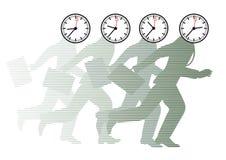 Laufende Männer mit Uhren als Köpfen Lizenzfreie Stockfotos