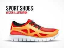 Laufende rote Schuhe Helles Sportturnschuhsymbol Stockfoto
