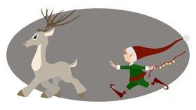Laufende Rotwild und nette Weihnachtselfe Stockfotos