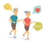 Laufende und lächelnde Senioren Stockbild