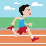 Laufende Vektorkarikatur des athletischen Sports Stockbilder