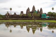 Laufende Wiederherstellung arbeitet bei Angkor Wat Kambodscha Stockfotos