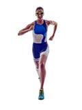 Laufender Athlet Frau Triathlon ironman Läufers Lizenzfreie Stockbilder