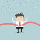 Laufender Erfolg des Geschäftsmannes an der Ziellinie Lizenzfreies Stockbild
