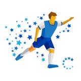 Laufender Fußballspieler mit Ball Fußballvektorbild, flaches CLI Stockfotografie