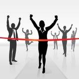 Laufender Geschäftsfrauüberfahrt-Zielliniegewinn Stockbild