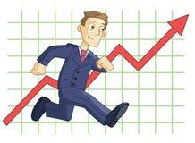 Laufender Geschäftsmann auf dem Geschäftsdiagrammhintergrund Stockfoto