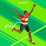 Laufender isometrischer Vektor Illustratio der Sieger-Sommer-Spiel-3D Lizenzfreies Stockbild