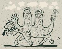 Laufender Karikaturdinosaurier Lizenzfreie Stockfotografie
