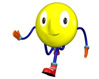 Laufender Lächeln Emoticon Stockbild