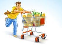 Laufender Mann mit dem Einkaufswagen voll von den Produkten lizenzfreie abbildung