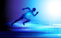 Laufender Mannsprinter auf dem blauen Neonlichthintergrund Lizenzfreies Stockbild
