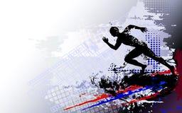 Laufender Mannsprinter auf dem strukturierten hellen Hintergrund Stockbild