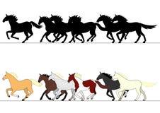Laufender Pferdegruppensatz Stockfoto