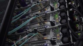 Laufender Server Lichtleiterkabelnahaufnahme Netzgerättechnologie stock video