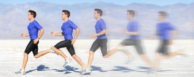 Laufender und Sprintmann in der Bewegung mit großer Geschwindigkeit Lizenzfreies Stockbild