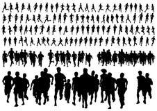 Laufender Wettbewerb auf Weiß Stockbilder