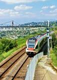 Laufender Zug in den Weinberg-Terrassen von Lavaux von der Schweiz Stockbild