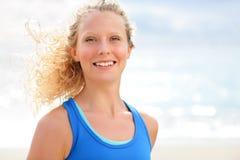 Laufendes Frauenporträt Stockbild