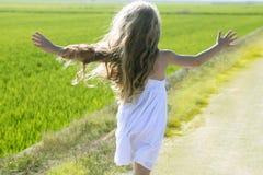 Laufendes geöffnetes kleines Mädchen der Arme der hinteren Ansicht in der Wiese Lizenzfreie Stockbilder