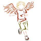 Laufendes geflügeltes nettes Kind, Kindheit Stockfotos