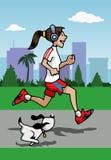 Laufendes Mädchen mit Kopfhörern und Hund Stockfoto
