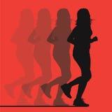 Laufendes Mädchenschattenbild stock abbildung