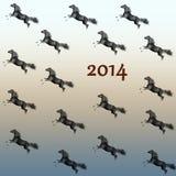 Laufendes Pferdneues Jahr 2014. Lizenzfreies Stockfoto
