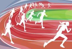 Laufendes Rennen auf Spur Lizenzfreies Stockbild