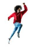Laufendes Schattenbild des afrikanischen Mannläufers lokalisiert Stockfotografie