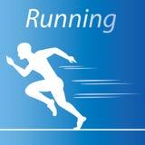 Laufendes Sportlogo mit blauem Hintergrund vektor abbildung