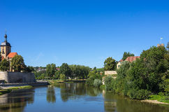 Lauffen am Neckar, Germqany. View of Regiswindis Church and Grafenburg Castle in the smalltown of Lauffen, Baden-Württemberg, Germany Royalty Free Stock Images