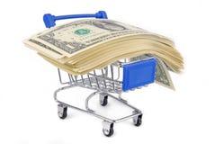 Laufkatze mit Geldkonzept Stockfotografie