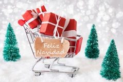 Laufkatze mit Geschenken und Schnee, Feliz Navidad Means Merry Christmas Lizenzfreie Stockbilder