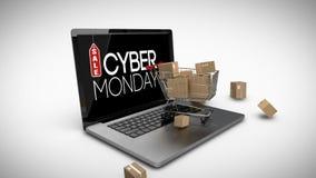 Laufkatze mit Kästen auf dem Laptop, der Cyber Montag-Verkaufszeichen anzeigt