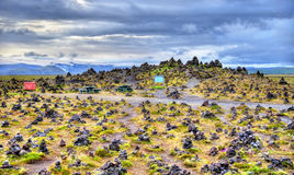 Laufscalavarda, a lava ridge, surrounded by stone cairns - Iceland Stock Photo
