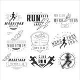 Laufsportvereinaufkleber, -embleme und -Gestaltungselemente Stockfotos