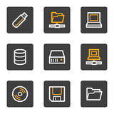 Laufwerke und Speicherweb-Ikonen, Grautastenserie Lizenzfreie Stockfotografie
